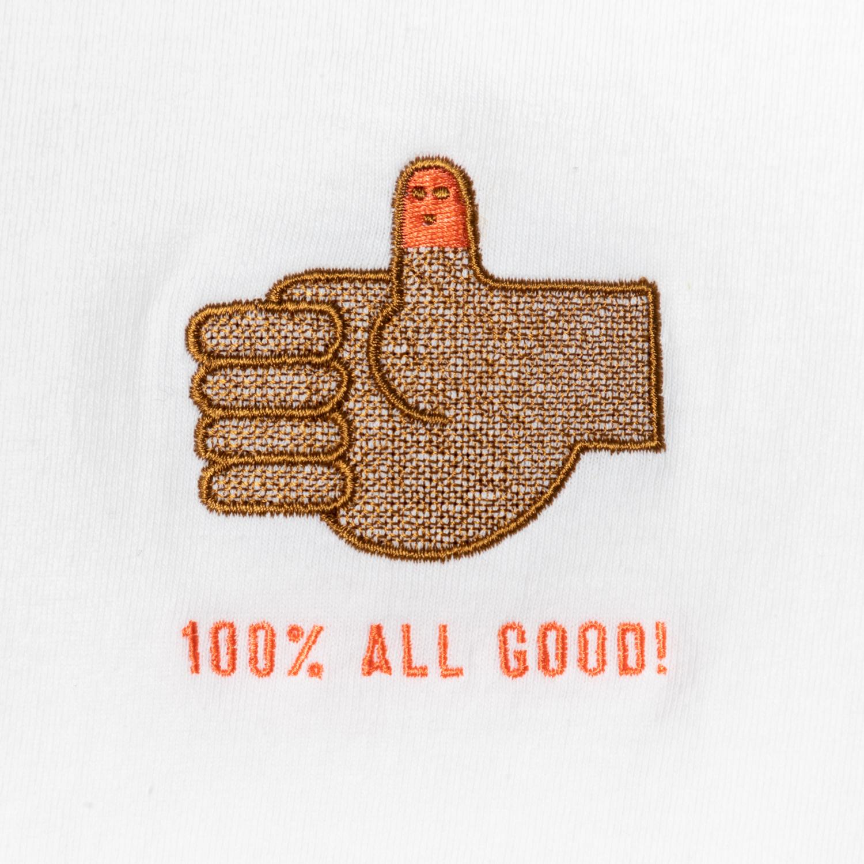 100% ALL GOOD! Embroidery Tee designed by Akinobu Maeda
